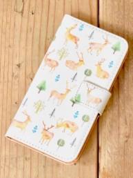 deer-野生の棲む森-手帳型スマホケース
