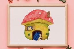 ハリネズミとマッシュルームハウス