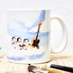 氷上でペンギンがギターと出会うマグカップ
