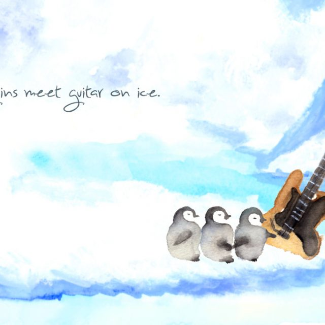 氷上でペンギンとギターが出会う