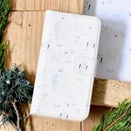 北極どうぶつの手帳型スマホケース