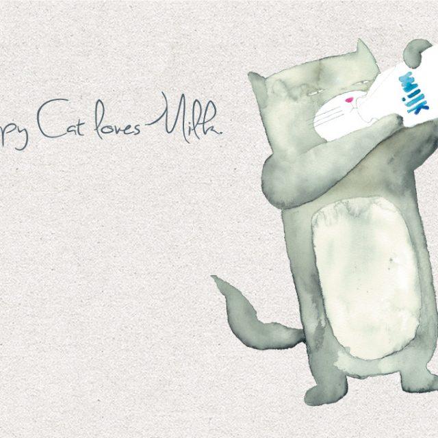ふてネコが牛乳を飲む