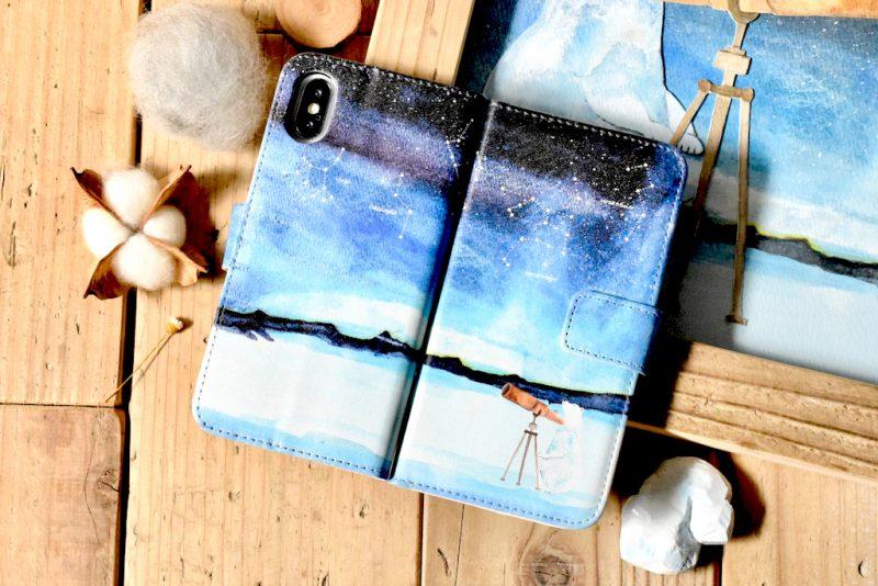 天体観測するシロクマの手帳型スマホケース