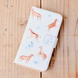 はんなりとした馬の手帳型スマホケース